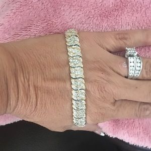 Jewelry - Sterling Yellow gold over genuine diamond bracelet